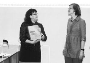 Мара Губайдуллина и Сюзанна Беккер (Институт им. Гёте, Алматы) на открытии Центра германских исследований.