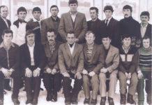 Совхозная бригада. Э.Ф.Шулеер в центре в верхнем ряду.