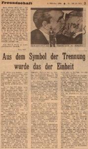 Публикация в газете Freundschaft от 3 октября 1990 года