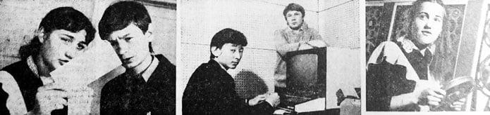 Auf den Bildern: Swetlana Korotitsch und Andrej Chomnizewitsch aus der 9b stellen ein Programm für die Rechenmaschine auf. Bachtichan Kalijew lernt bei seinem Lehrer Sergej Kislizyn, mit dem Display umzugehen. Heute ist Anastassija Solotuchina diensthabende Operateurin.