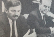 Eine angeregte Diskussion zwischen Bundesminister Jürgen Möllemann, der deutschen Delegation und der DAZ Redaktion im Februar 1992. | Foto Juri Weidmann