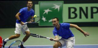Aleksandr Nedovyesov und Timur Khabibulin sorgen beim Davis Cup für den vorzeitigen Einzug ins Viertelfinale. Foto: Sergey Kivrin