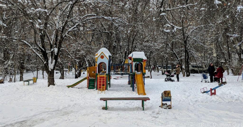 Ein Kinderspielplatz in Almaty.