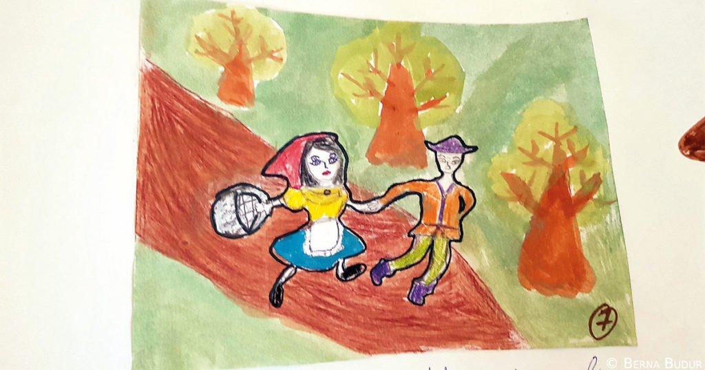 Ausschnitt aus dem zweitplatzierten Comic von Aiya Talgatowa und Klara Kairatbek, Schülerinnen aus der Schule Nr. 7