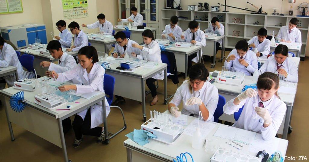 Schüler der Nasarbajew-Schule für Biologie und Chemie in Kalkaman