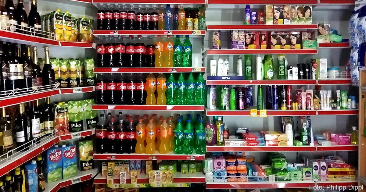 Ein kleiner Laden in Almaty.