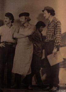"""2 Szene aus der Aufführung """"Die Ersten"""" mit (v.l.n.r.) David Schwarzkopf, Woldemar Bolz, Georg Nonnemacher und Peter Zacharias"""